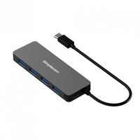 Simplecom CH320 Ultra Slim Aluminium USB3.1 Type C to 4 Port USB3.0 HUB - Black